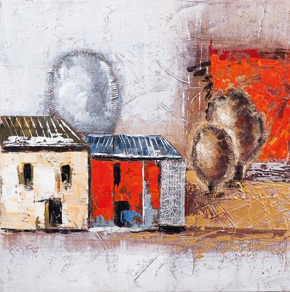 schilderij huisjes 60x60