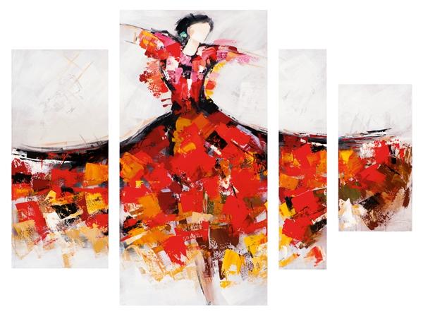 Schilderij danseres 4 luik 159x115