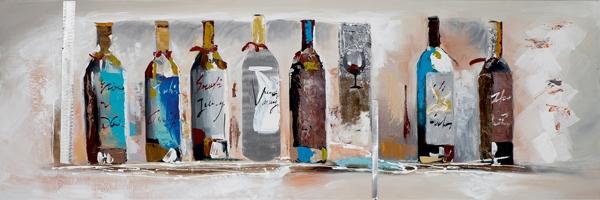 Schilderij 30x90 Wijnflessen