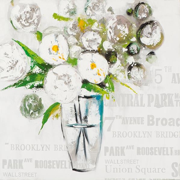 ilxe580 - schilderij Bloemen in vaas 70x70