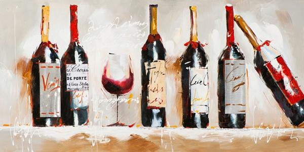 Schilderij wijnflessen NIEUW! 60x120