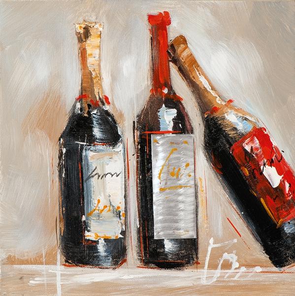 Schilderij 25x25 Wijnfles