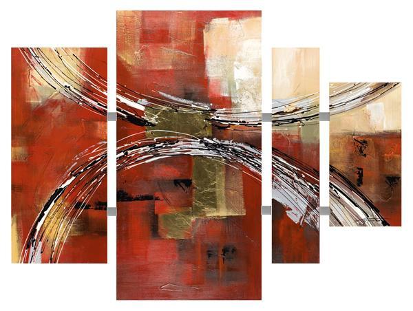 Schilderij 4 luik totaal 115x159 Abstract