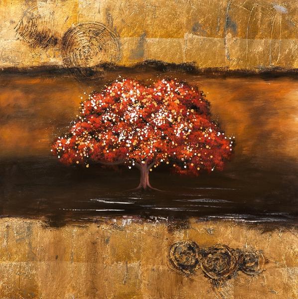 Schilderij boom goud 100x100