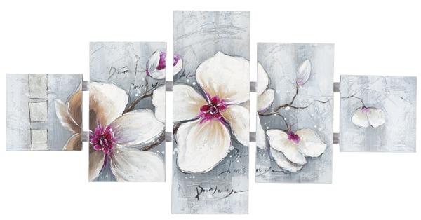 Schilderij 5 luik totaal 80x162 Bloemen