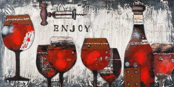 Schilderij wijn 70x140