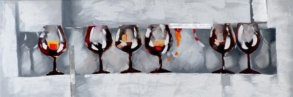 schilderij Wijnglazen 30x90