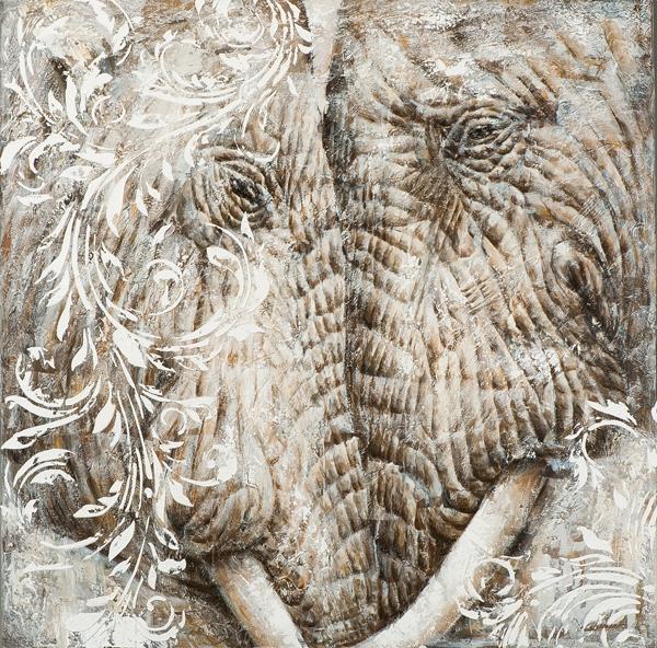 schilderij 115x115 Olifanten