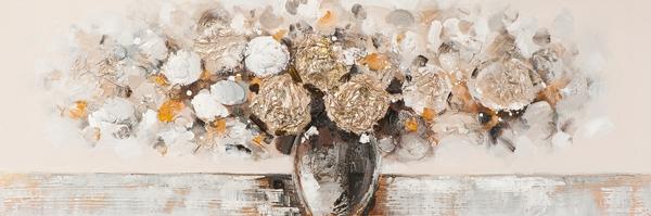 schilderij vaas bloemen modern 50x150