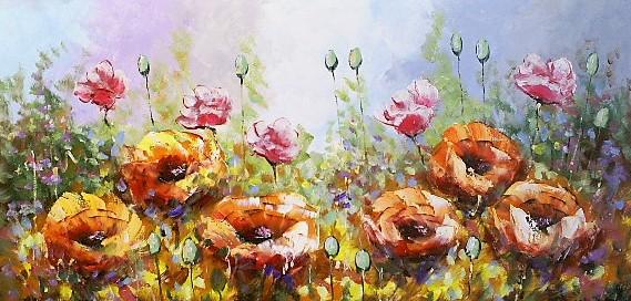 Schilderij bloemen 80x160