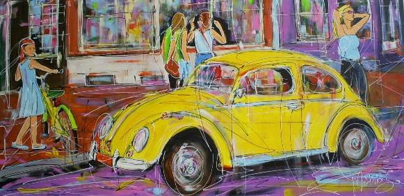 Schilderij Volkswagen Kever 70x140