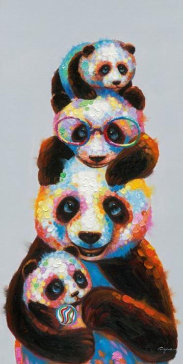 Schilderij panda's 60x120