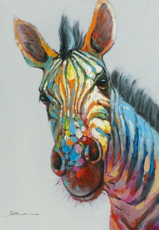 Schilderij zebra 70x100