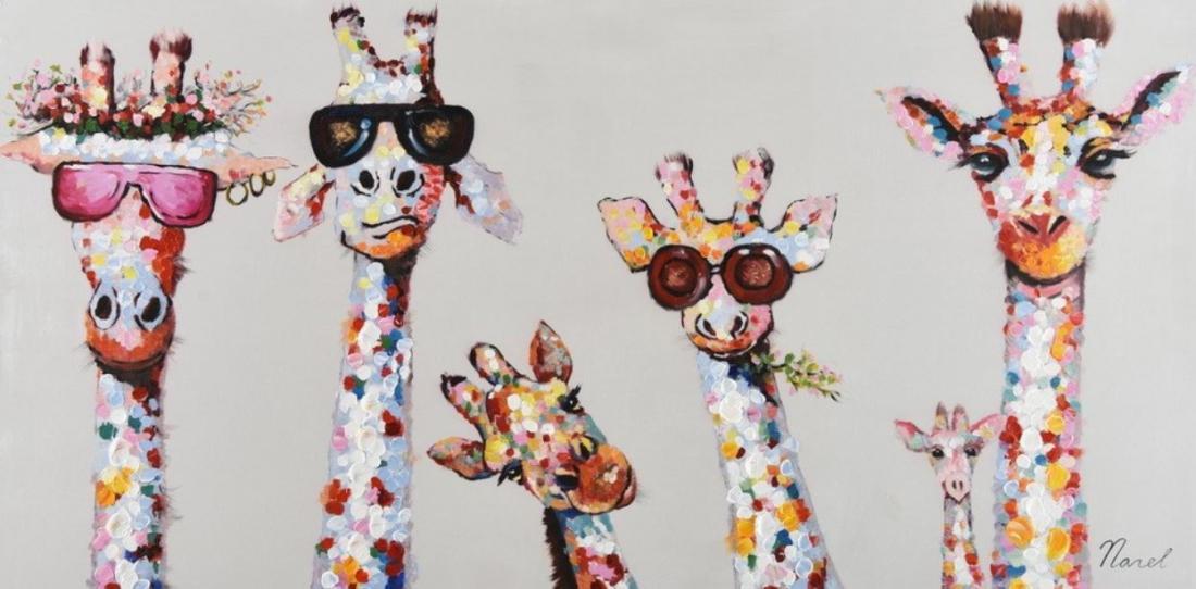 Schilderij giraffen 70x140