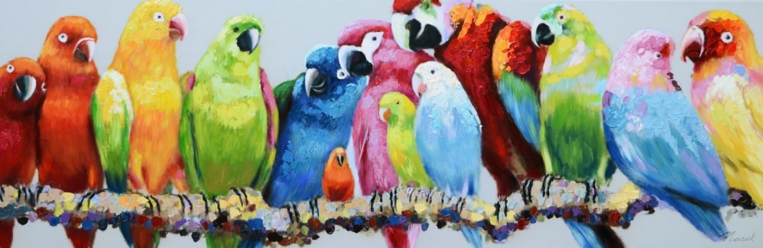Schilderij papegaaien 50x150