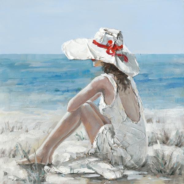 Schilderij vrouw aan strand 100x100
