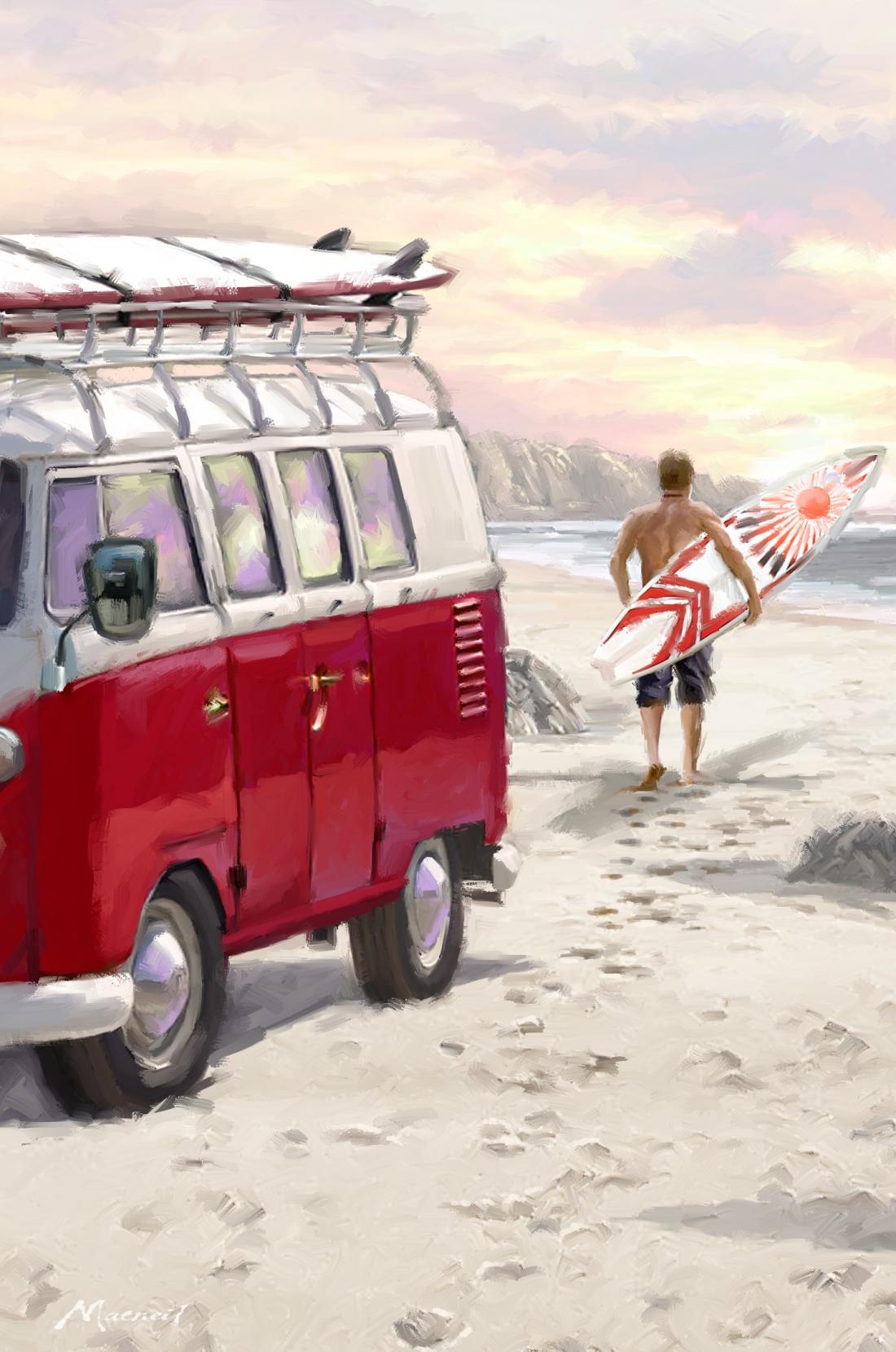 Surfer met volkswagen busje 100x75
