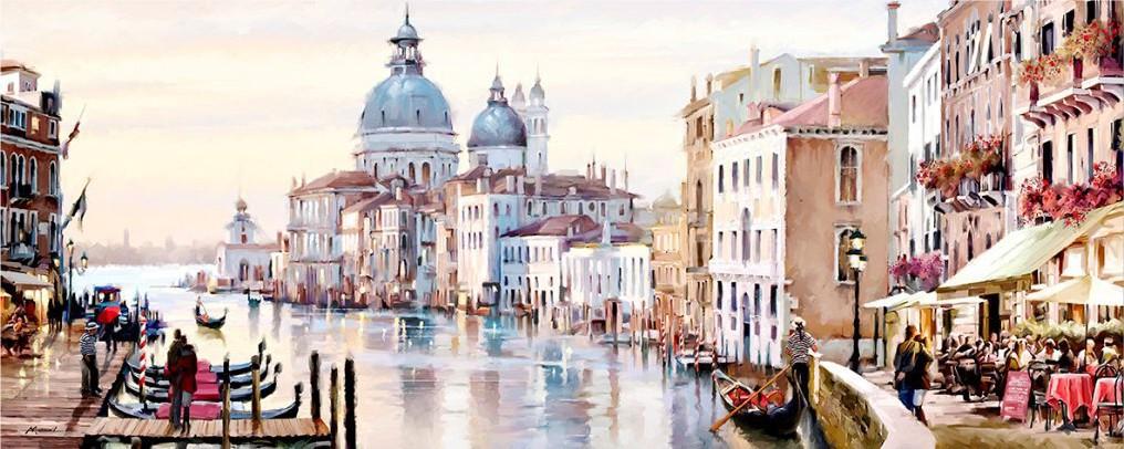 Stadsgezicht Venetie met gondel 60x150