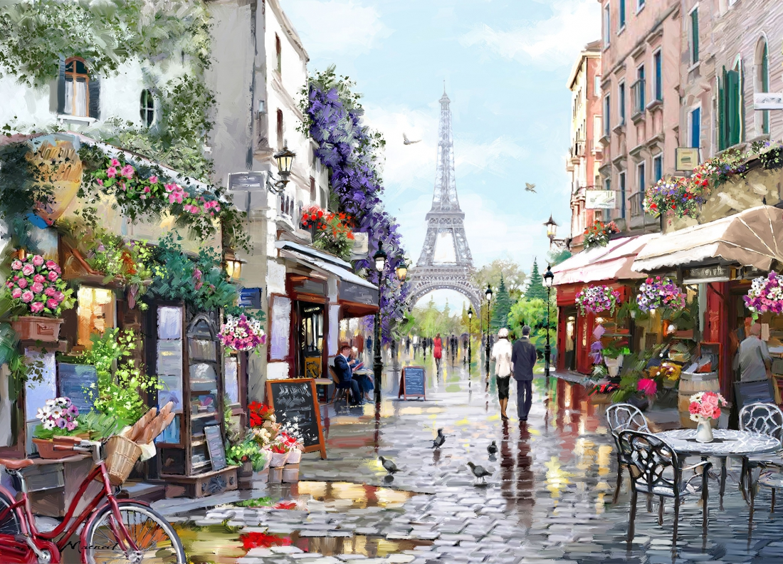 Stadsgezicht van Parijs met Eiffeltoren 75x100