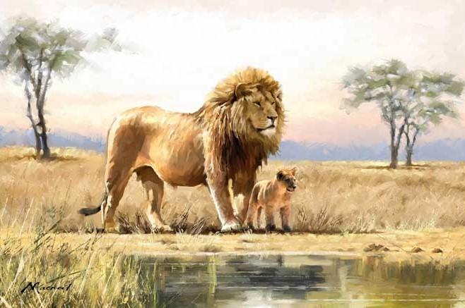 Leeuw met welp 75x100