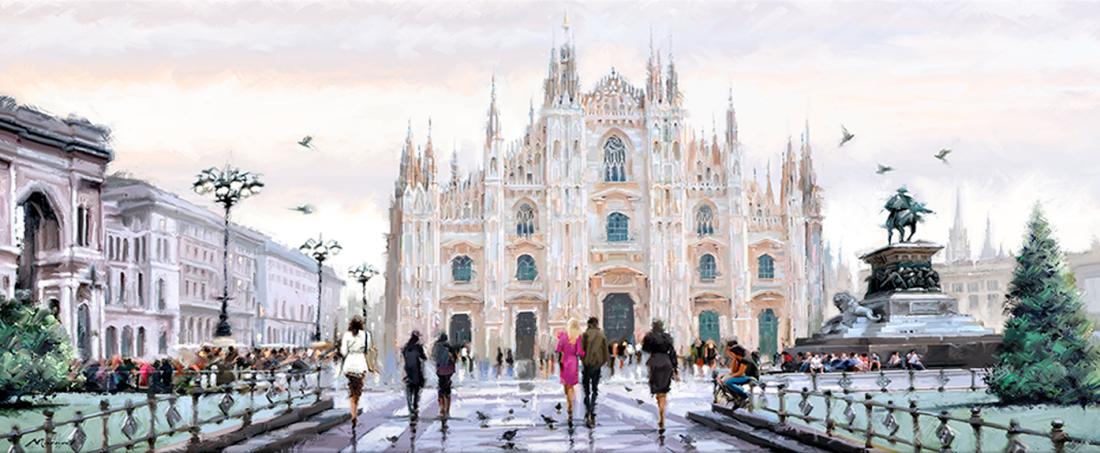Stadsgezicht Milaan 45x140