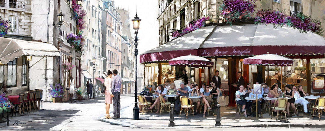 Cafe in Parijs 60x150