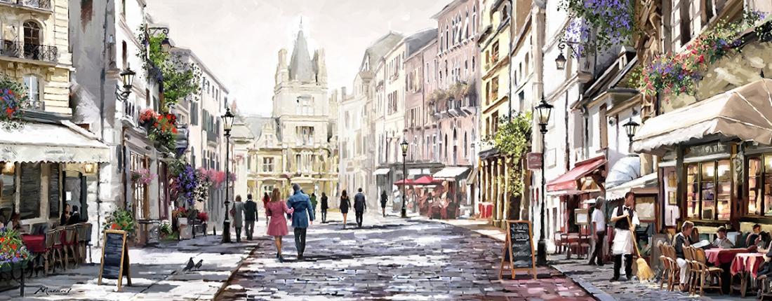 Straat in Parijs 60x150