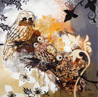Schilderij Metallic owl 100x100
