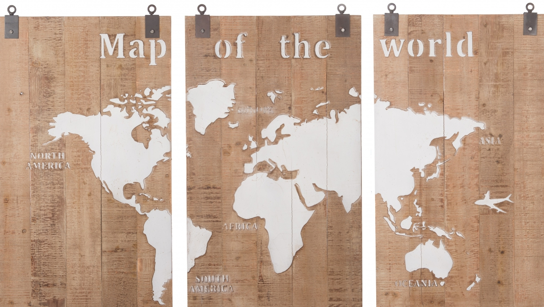 Wereldkaart drieluik op hout totaal 120x210