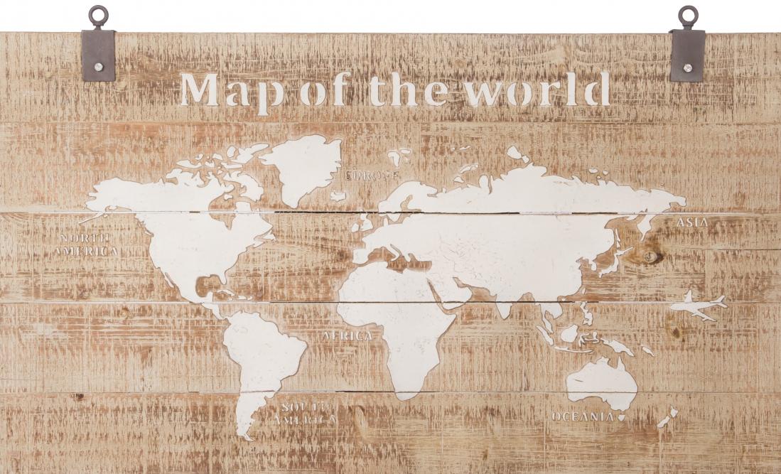 schilderij wereldkaart op hout 80x140
