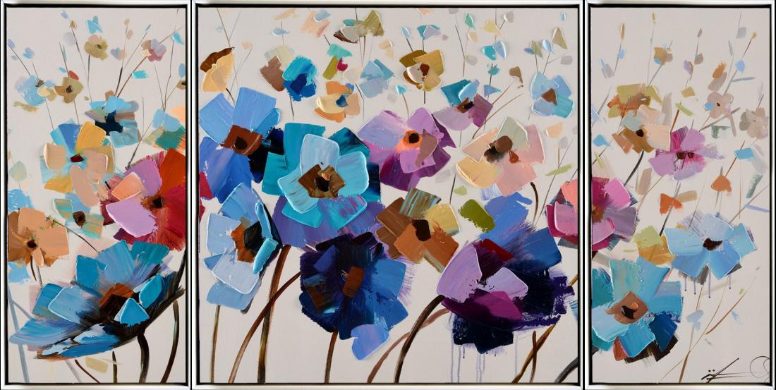 Meerluik schilderij bloemenveld 70x140
