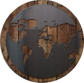 Wereldkaart op hout rond 90cm