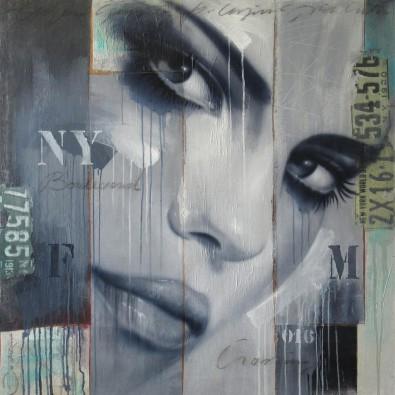 Schilderij Face 100x100