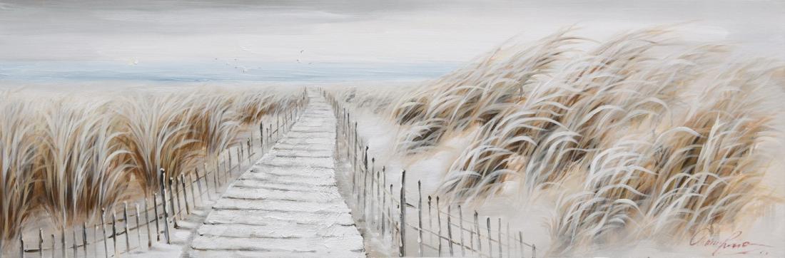 Schilderij strand en duinen 50x150