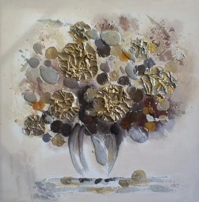 schilderij Bloem met vaas 75x75