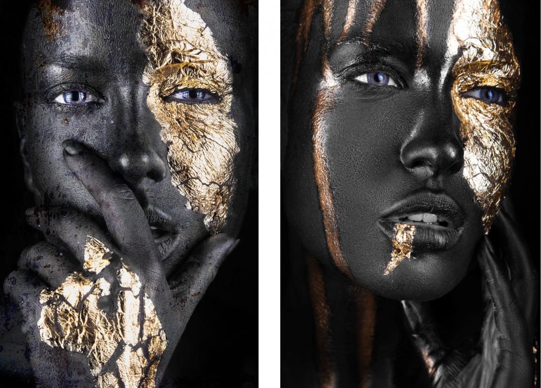 Fotokunst set Gold women 2x 75x100 set prijs