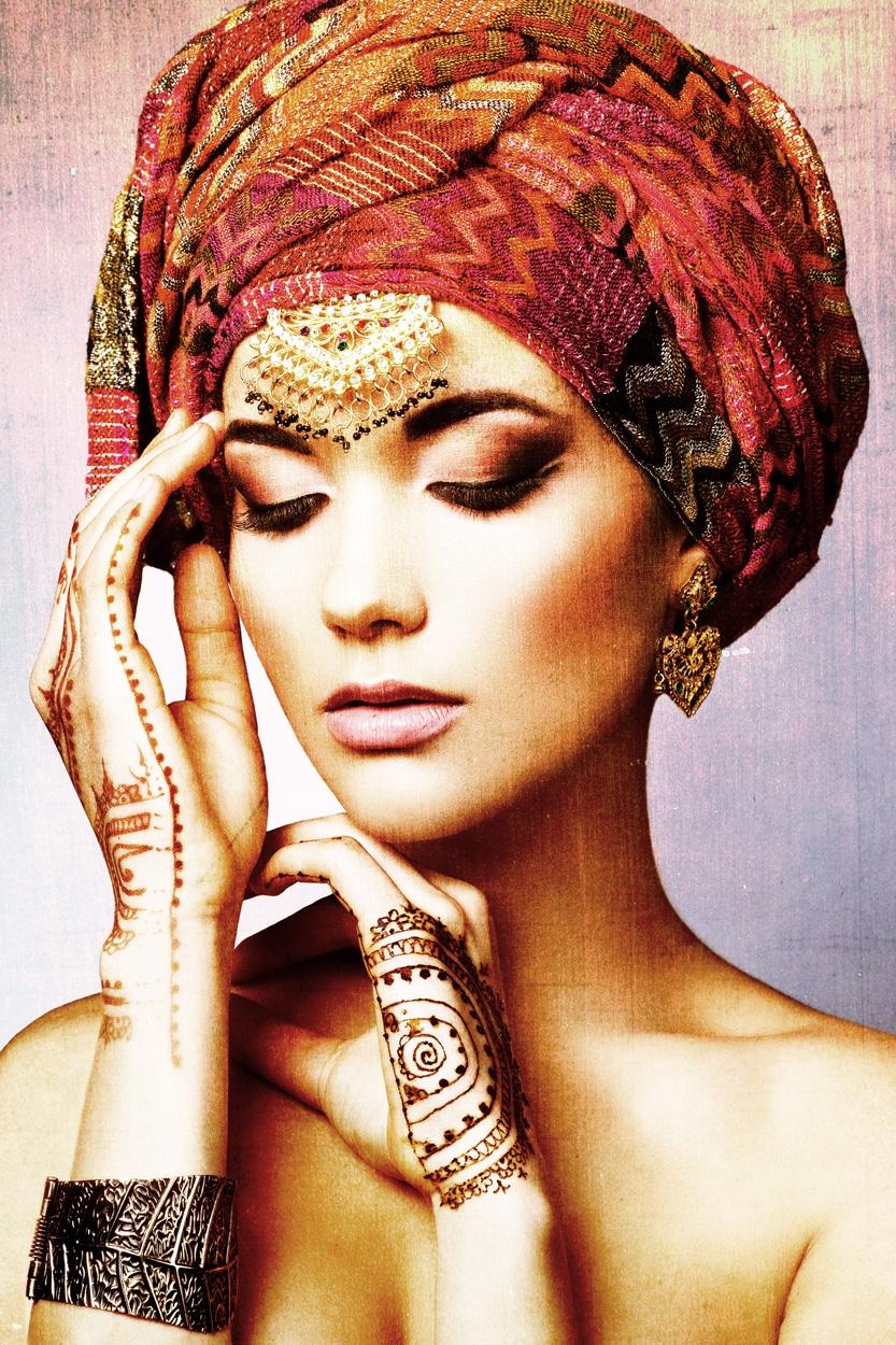 Fotokunst vrouw henna 100x75