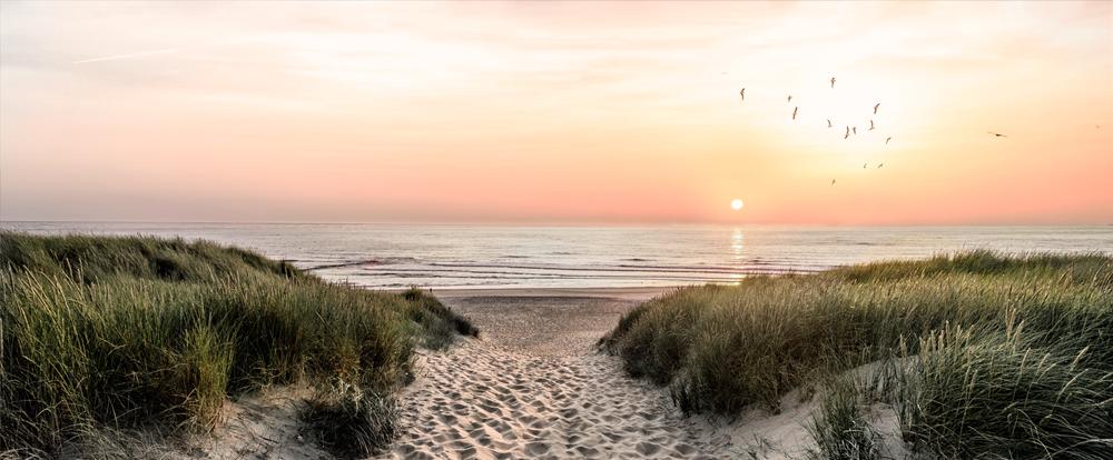 Fotokunst strand met zonsondergang 60x150