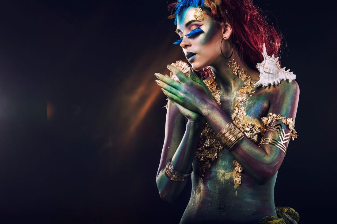 Fotokunst vrouw met schelp 75x100