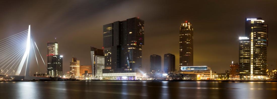 Fotokunst skyline Rotterdam 60x150
