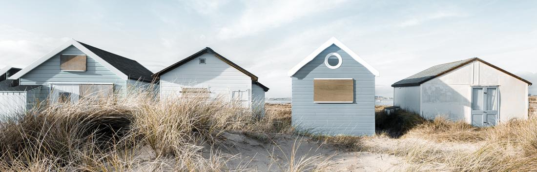 Fotokunst strandhuisjes 60x150