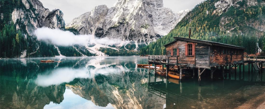 Fotokunst meer met bergen 60x150