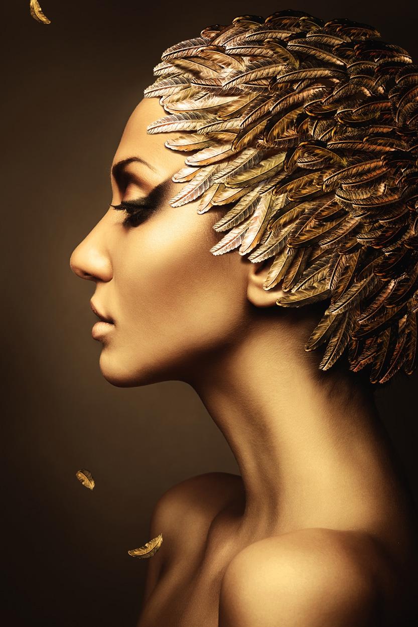 fotokunst Gold feather 100x75