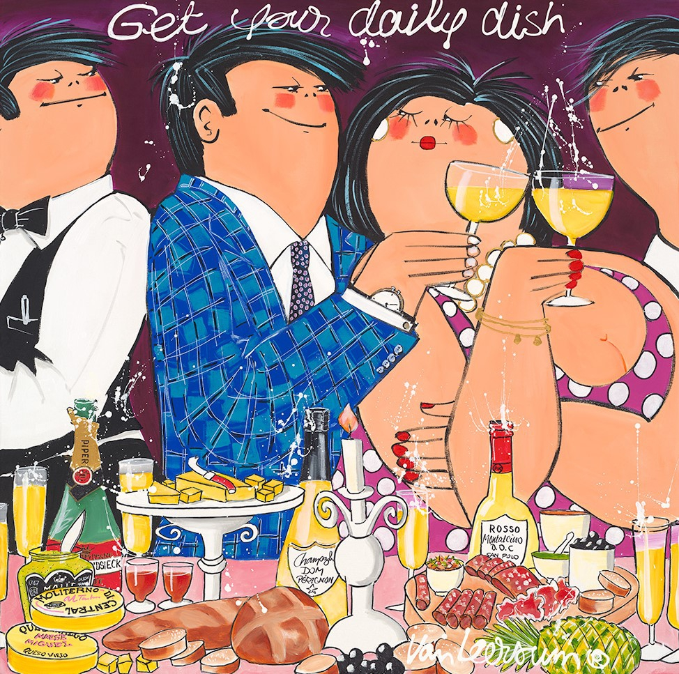 Dikke Dames 'Get your daily dish' 70x70