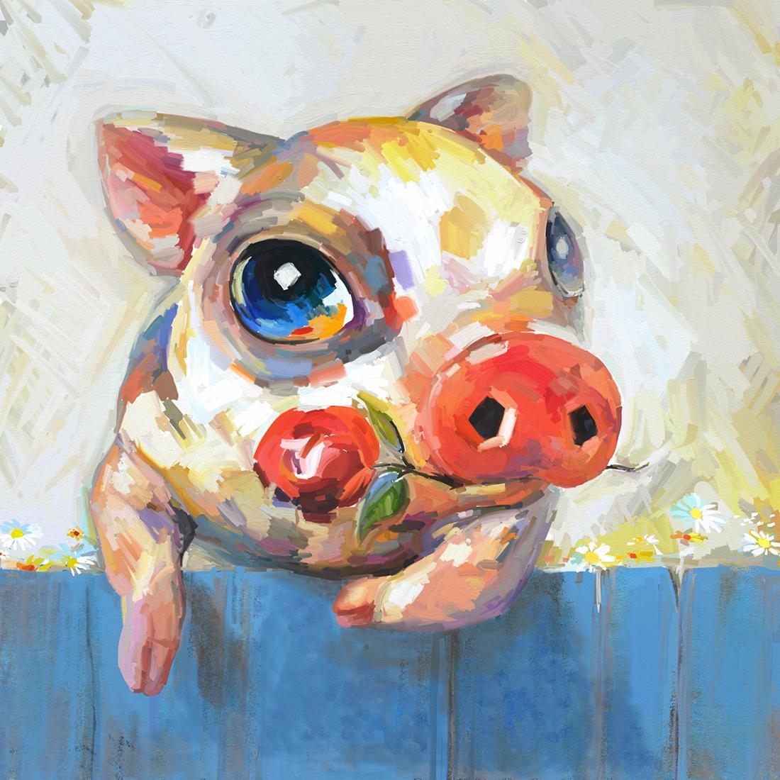 schilderij varken 70x70