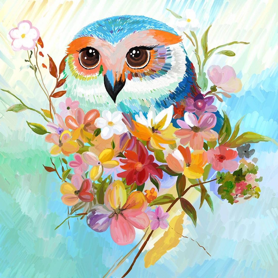 schilderij Vogel 70x70