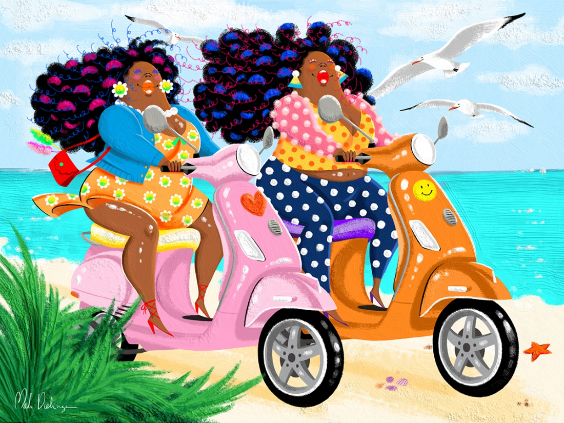 Big mama's scooters on the beach 75x100