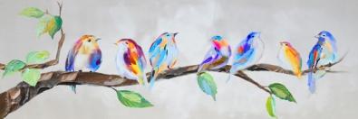 schilderij vogeltjes 40x120