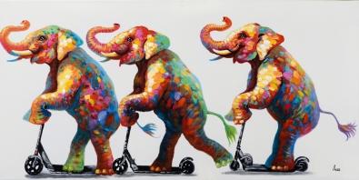 schilderij Olifanten op een step 70x140