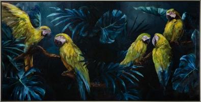Schilderij papegaaien met lijst 72x142